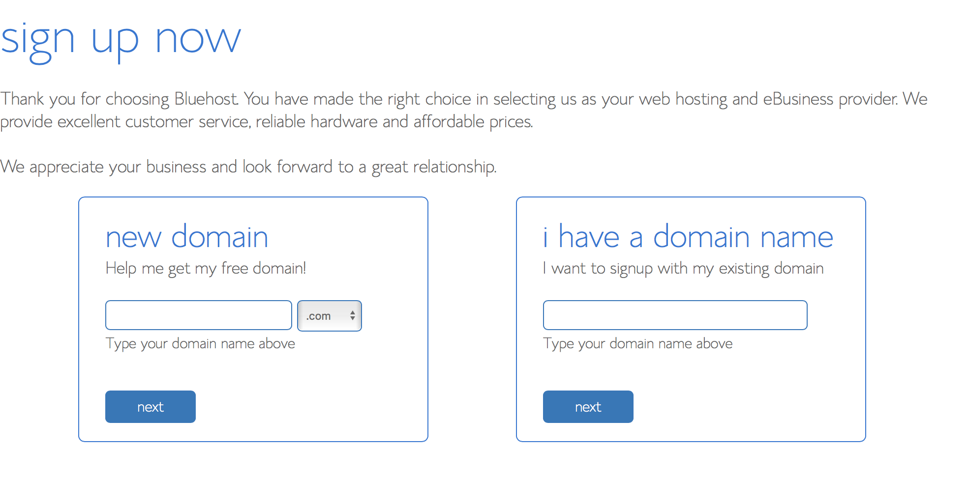 "If you want a new domain, type what you want into the ""new domain"" box."