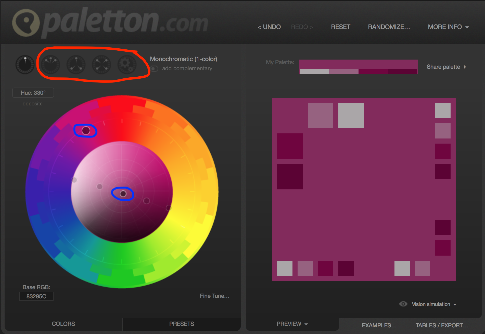 Picking a color scheme using Paletton color scheme designer.