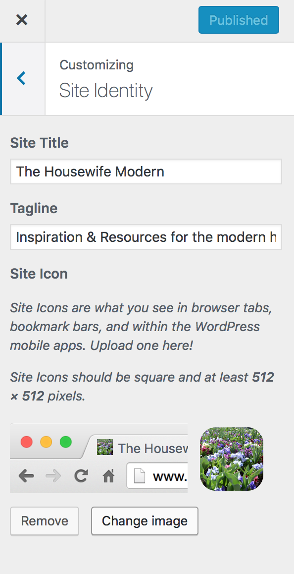 "Click on ""Site Identity"" to change your site title and tagline that are displayed."