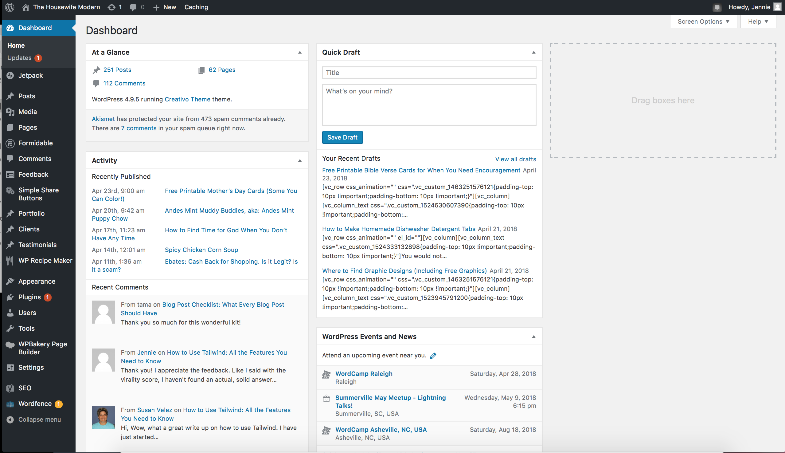 "This should look similar to your Wordpress dashboard. Say ""Hello""...you'll be spending a lot of time on Wordpress."