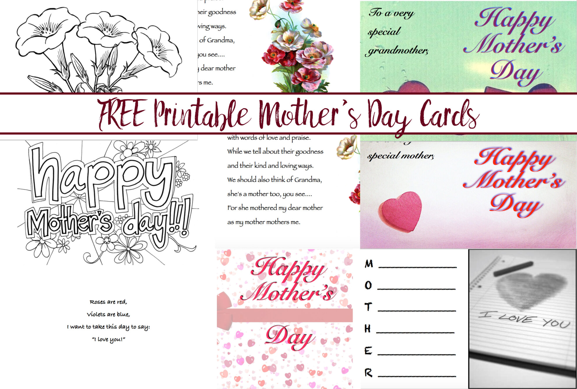 Printable Mother's Day Cards: Different Designs for All Ages