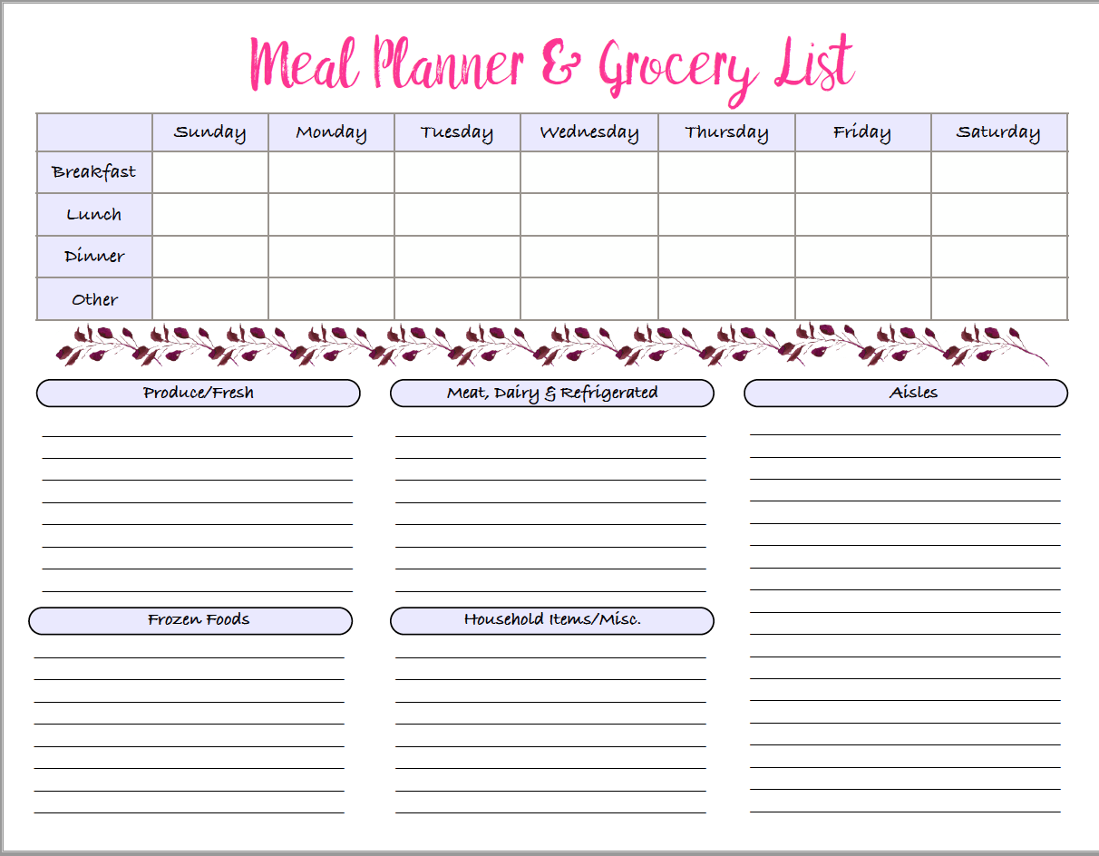 1 week meal planner grocery list