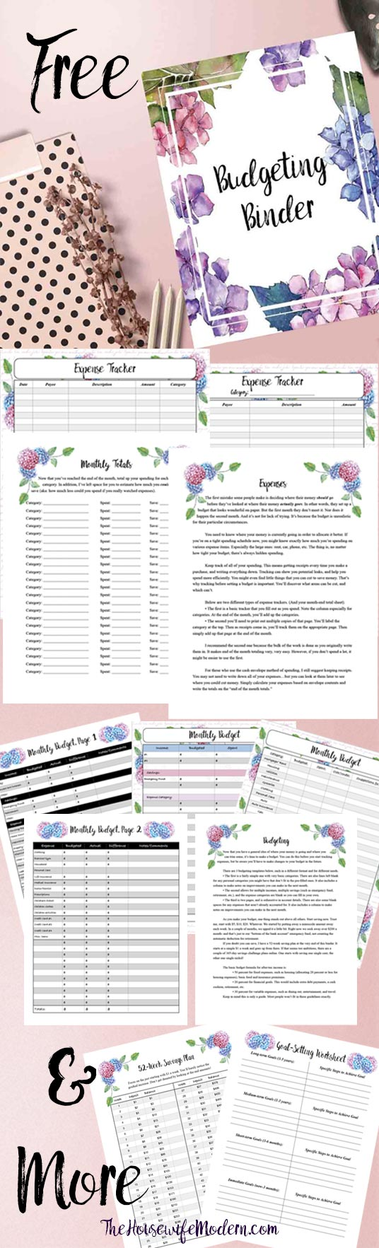 Free Printable Budgeting Binder! 15+ pages with expense trackers, budgeting, goal-setting, practical tips for saving money & more. #budget #budgeting #free #freebudgeting #financial #freeprintable #money
