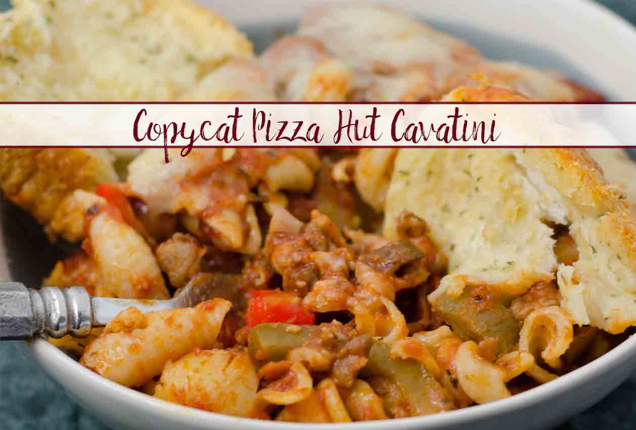 Copycat Pizza Hut Cavatini. Delicious, easy. Pepperonis, Italian sausage, 2 types of cheese, sauce simmered with blend of spices, a smattering of mushrooms, peppers, and onion.
