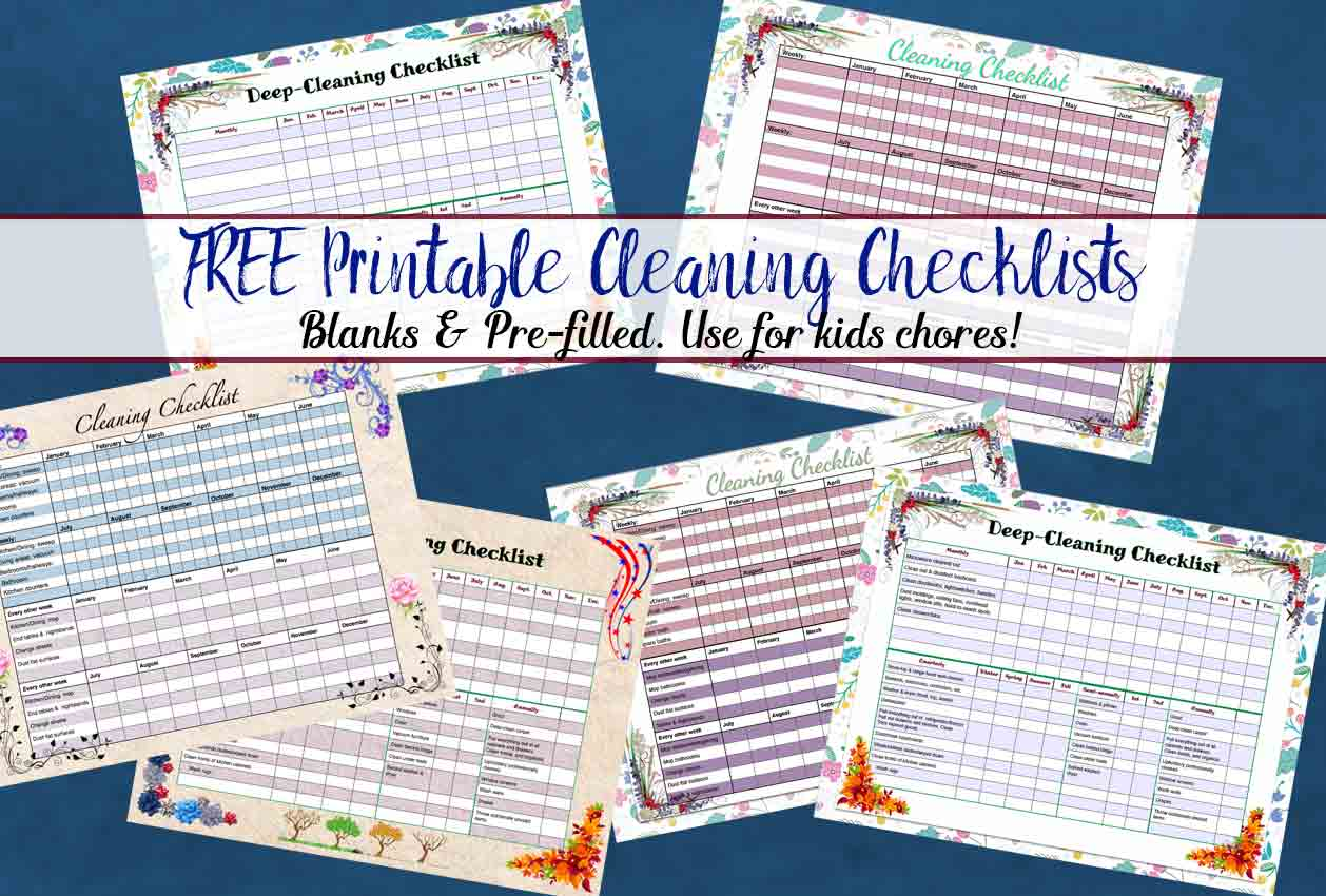 FREE printable weekly cleaning checklist & deep-cleaning checklist. Pre-filled out as well as blanks for you to customize. Great for kids! And links to tons of other printables!
