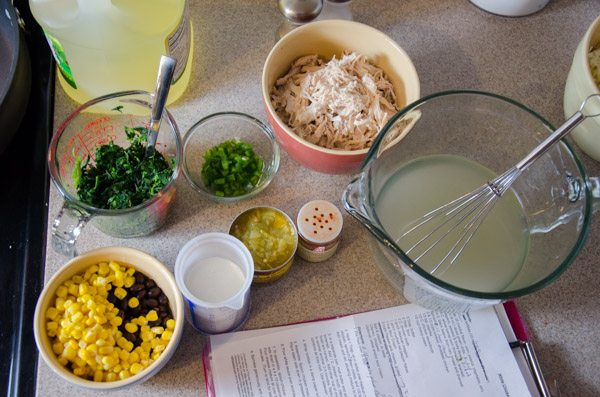 Mise en place: ingredients for chicken/spinach stuffing for White Chicken Enchiladas