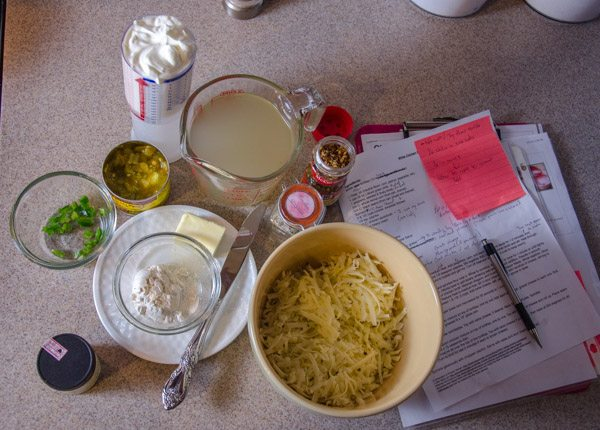 Mise en place for sauce: ingredients for the fabulous, incomparable sauce for White Chicken Enchiladas.