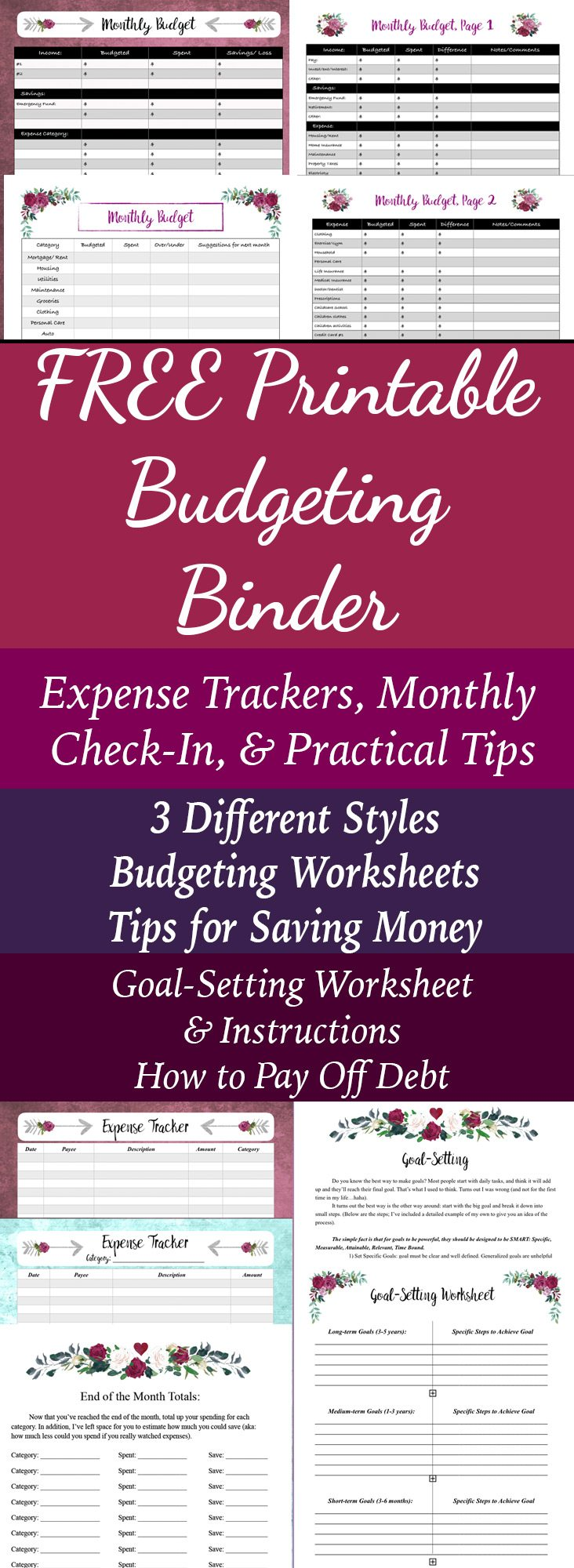Free Printable Budgeting Binder! 15+ pages with expense trackers, budgeting, goal-setting, practical tips for saving money & more.