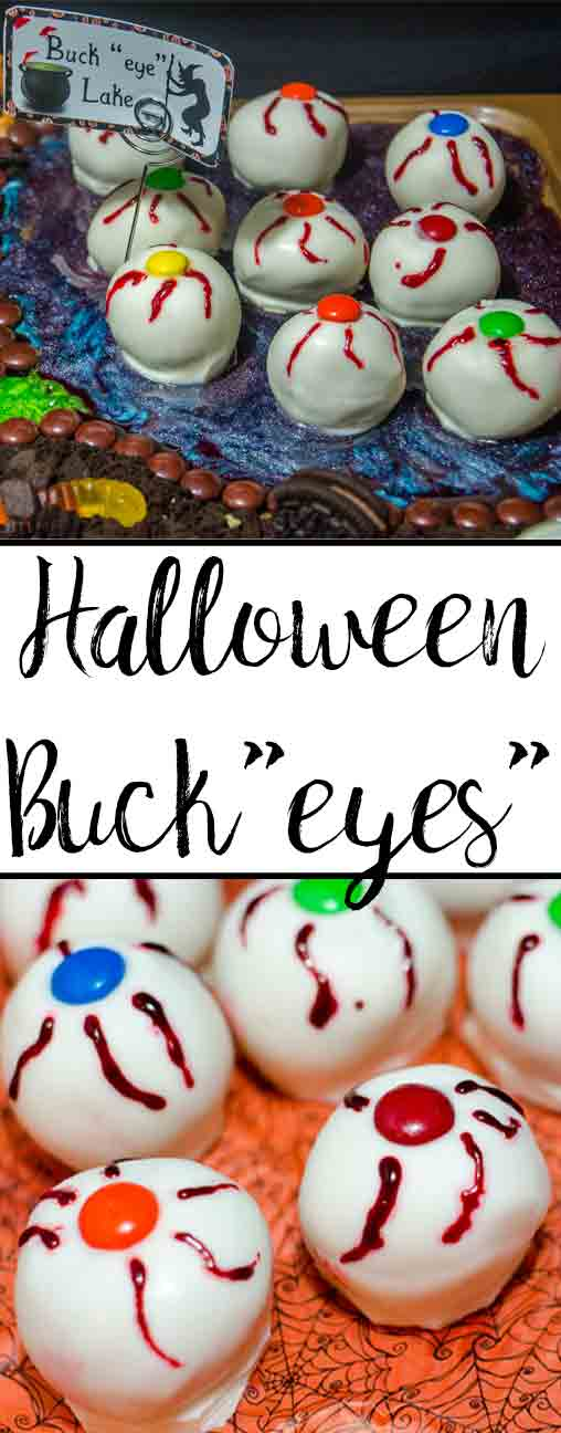 Irresistible Halloween Buckeyes- classic buckeyes dipped in white chocolate and decorated just for Halloween. Creepy…but delicious.
