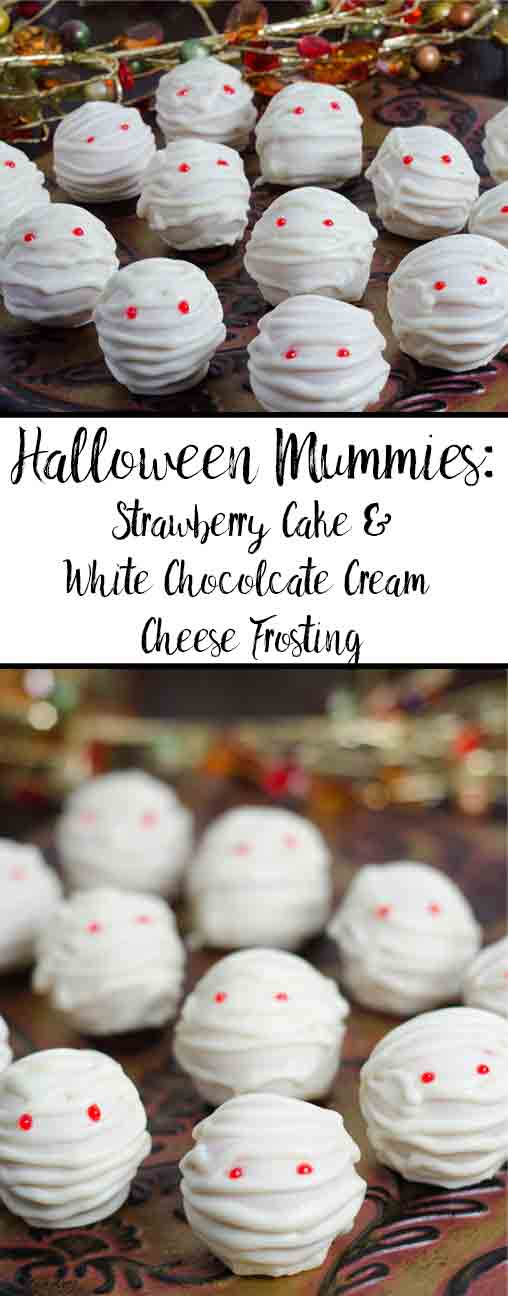 Delicious Halloween Mummies. Fabulous looking strawberry cake and white chocolate cream cheese frosting! Easy to decorate, step-by-step pictures.