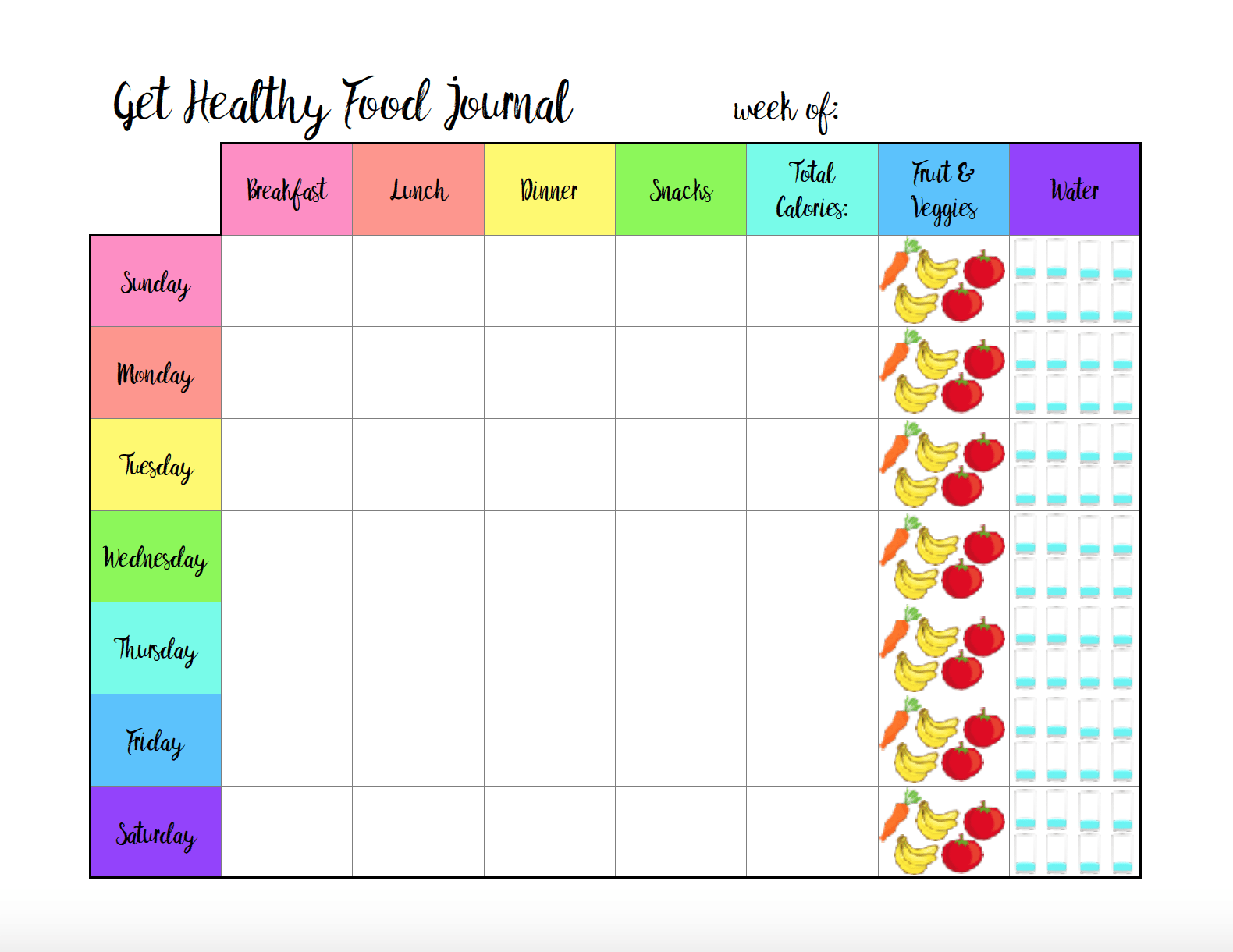 Free Printable Food Journal: 6 different designs! Track food, water, exercise, & more. A food journal for whatever your needs.