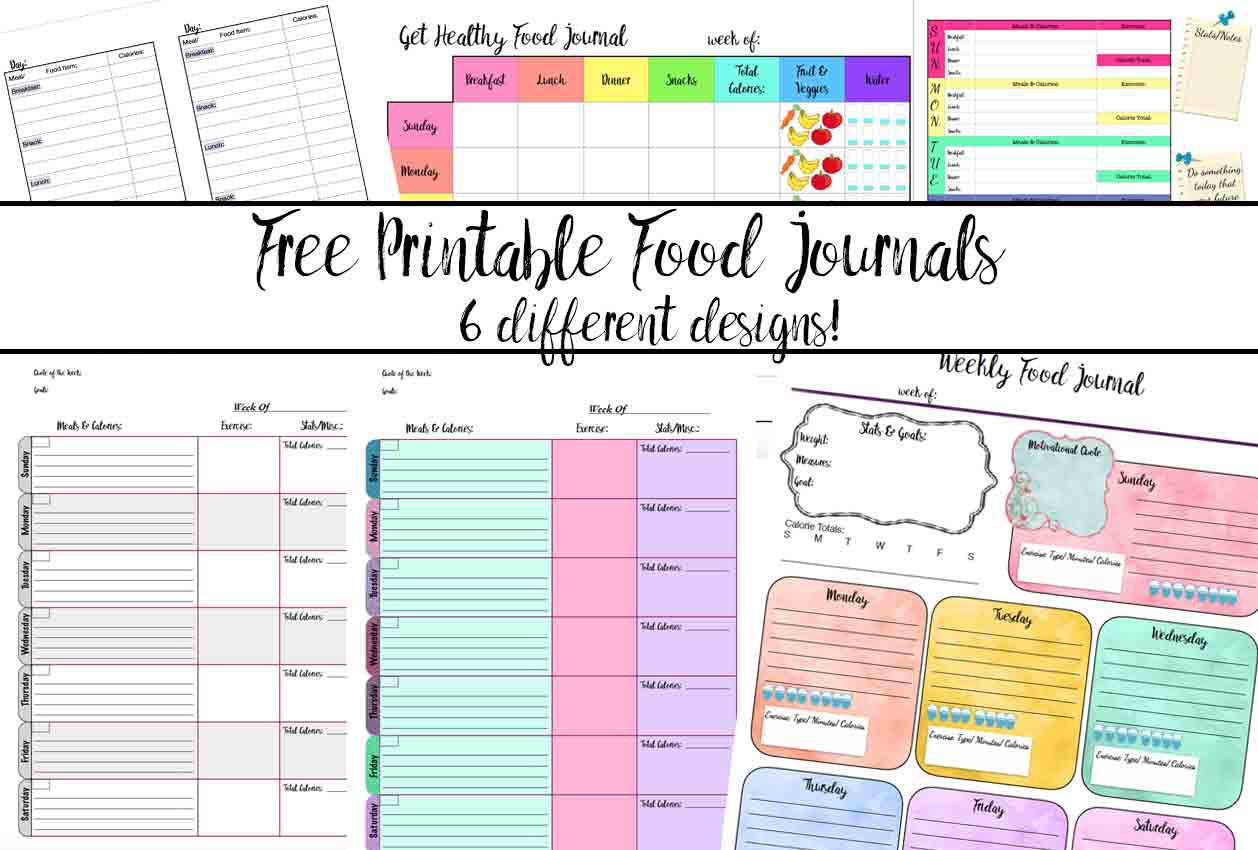 Kitchen Layout Templates 6 Different Designs: Free Printable Food Journal: 6 Different Designs