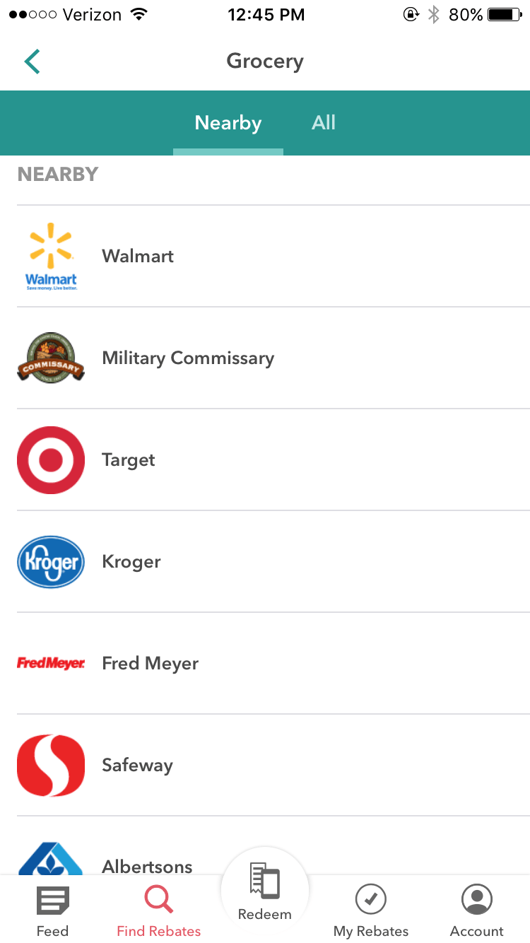 "This will bring up nearby stores. For this example, I clicked on ""Military Commissary"", but you can choose any store!"