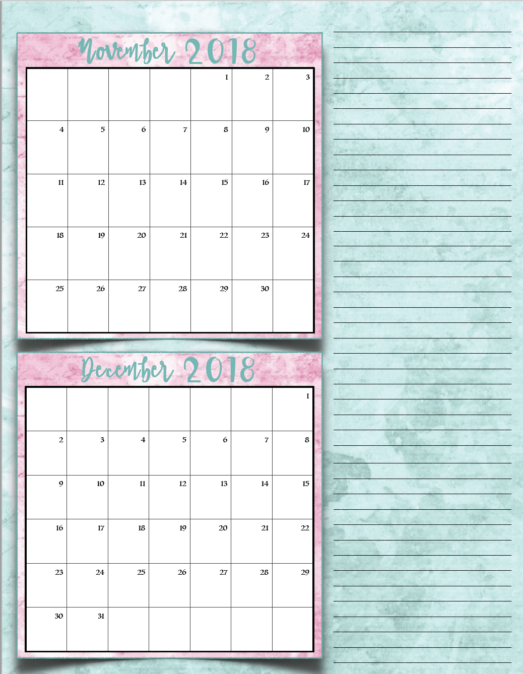free printable 2018 bimonthly calendars 6 designs these free printable 2018 calendars are great