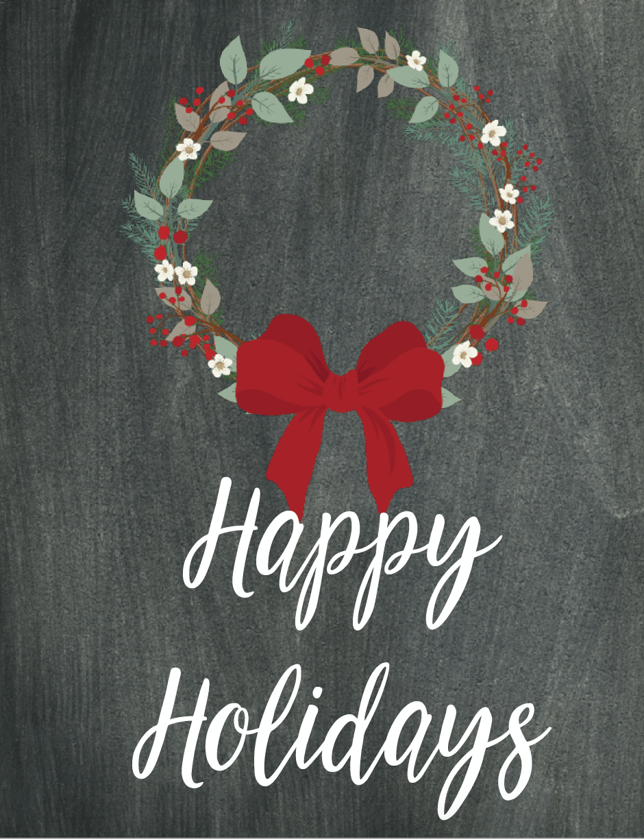 Free Printable Christmas Chalkboard Wall Art: 6 Designs. Use for wall decor, in planners, or to decorate for the holidays!