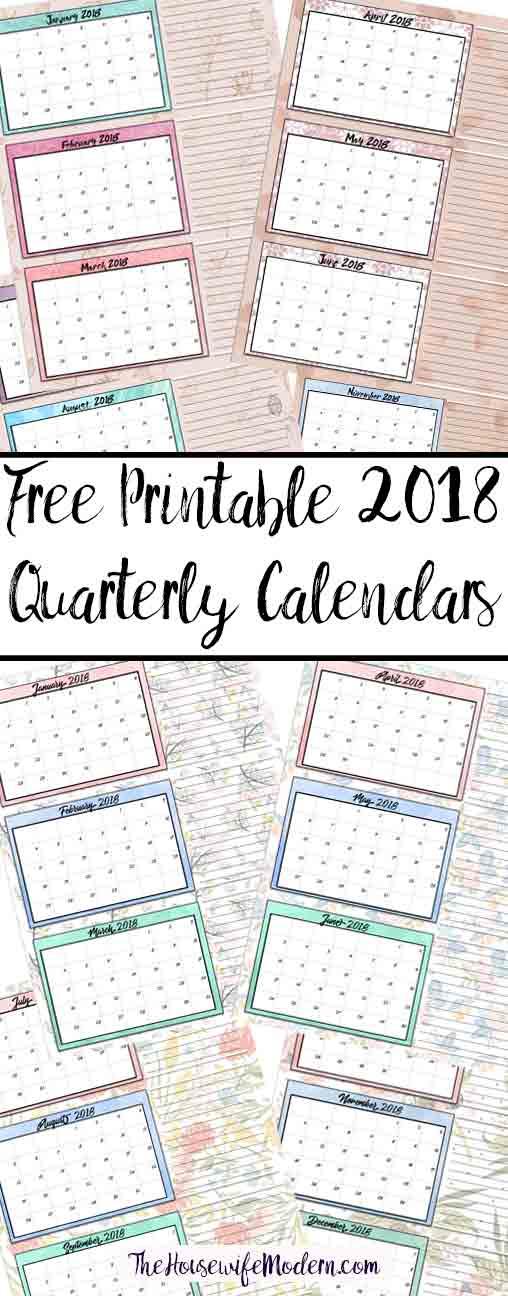 2018 quarterly calendar printable