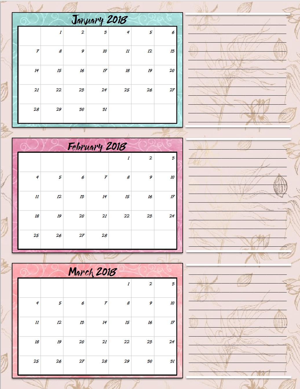 Year Calendar Quarters : Free printable quarterly calendars designs