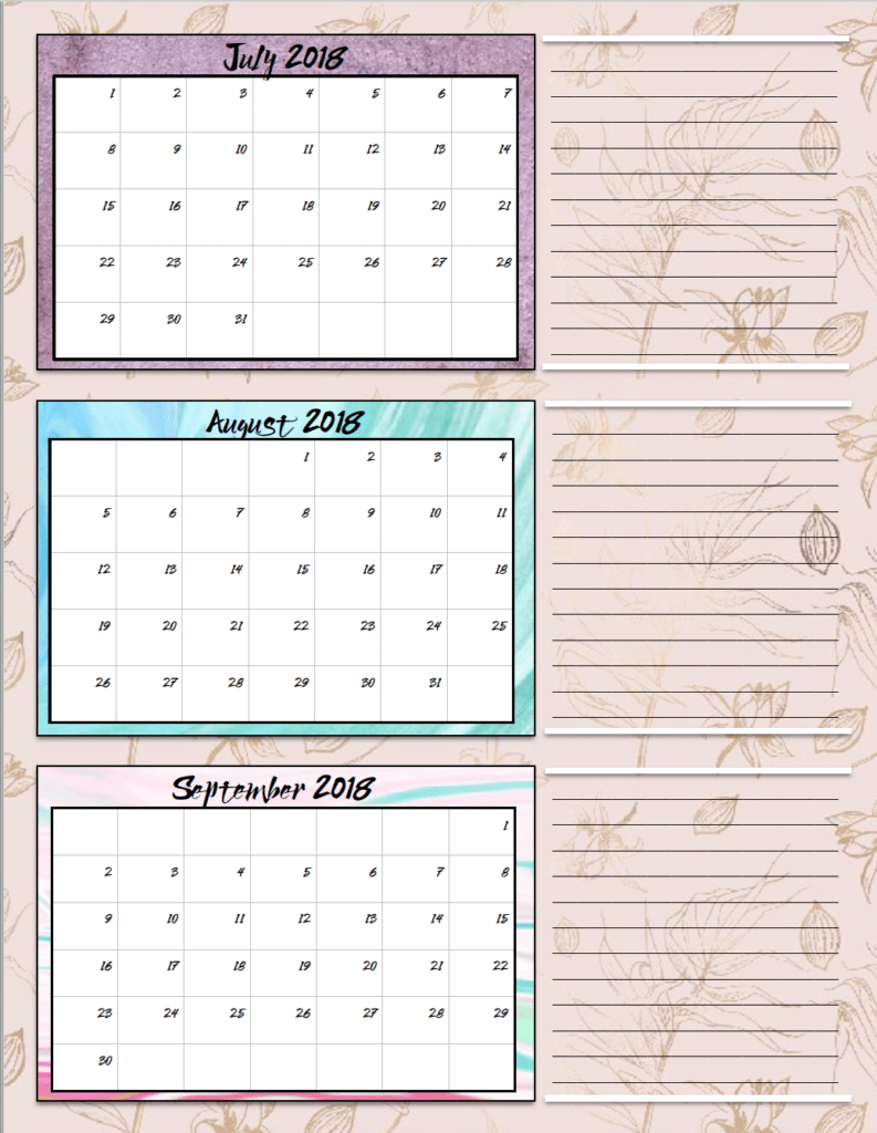 Free Printable 2018 Quarterly Calendars: 2 Designs!