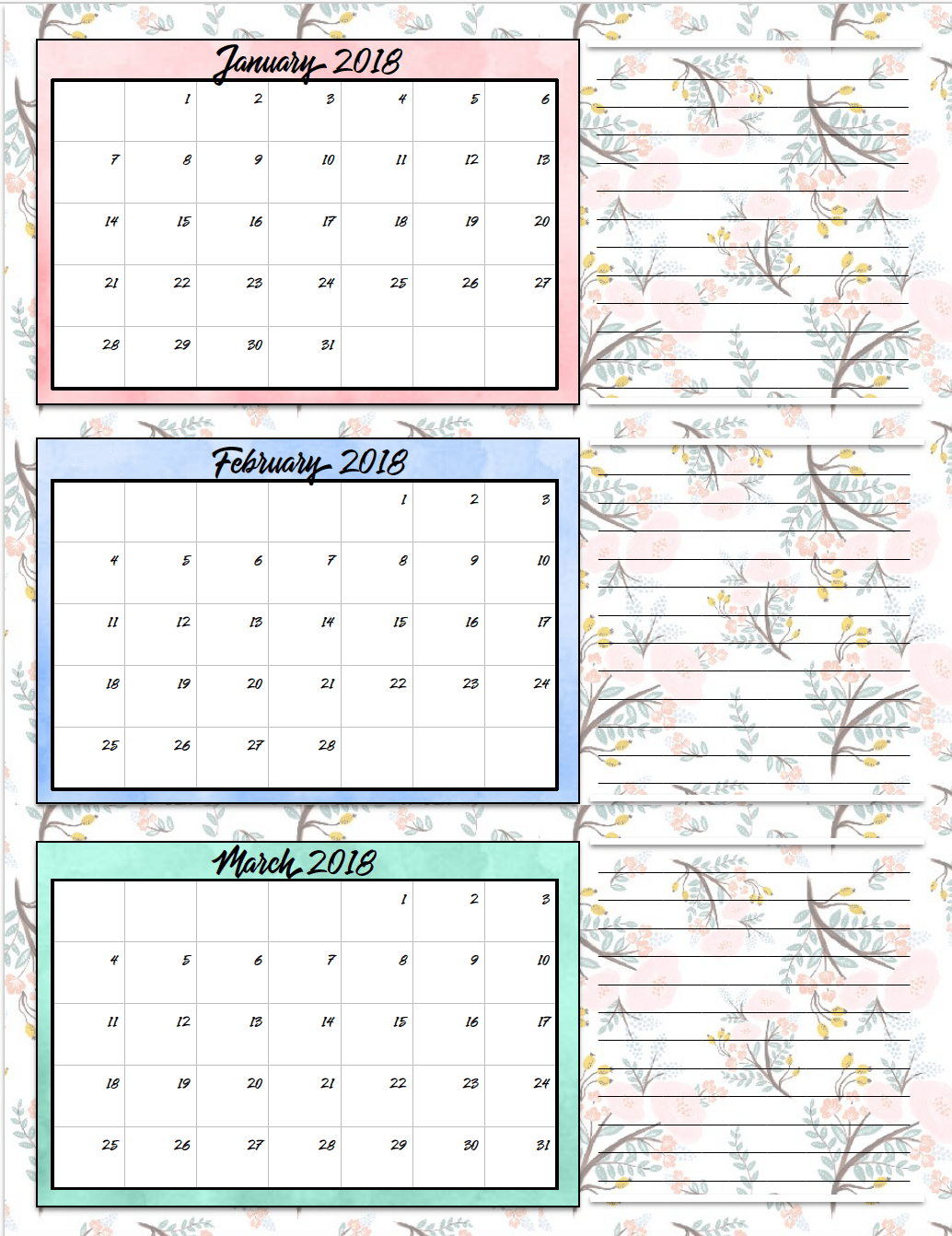 Quarterly Calendar Design : Free printable quarterly calendars designs