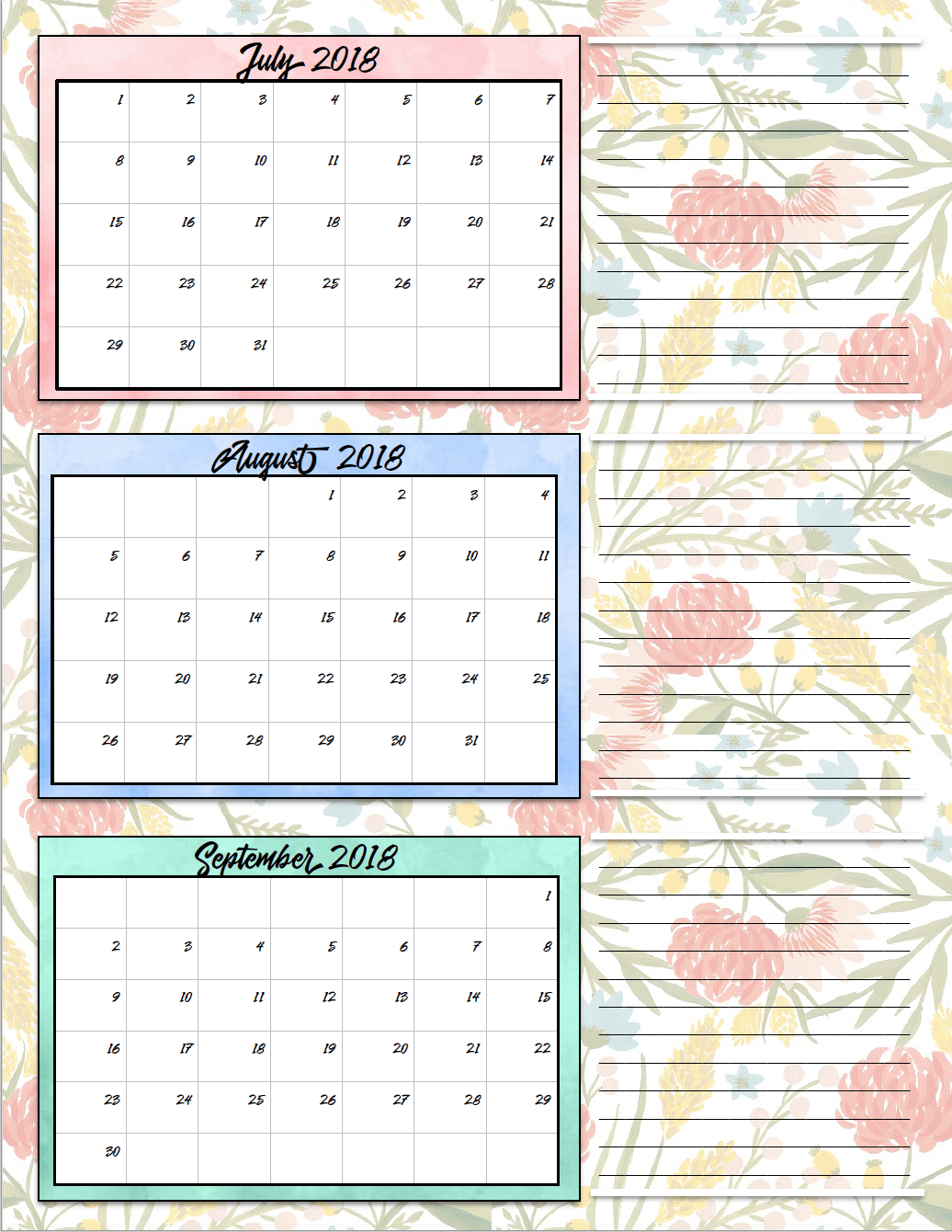 Monthly Calendar By Quarter : Free printable quarterly calendars designs