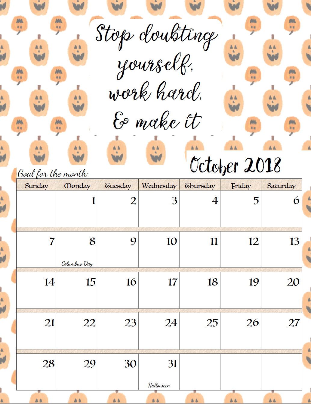 FREE Printable 2018 Monthly Motivational Calendars. Space For Setting  Goals, Different Motivational Quote Each
