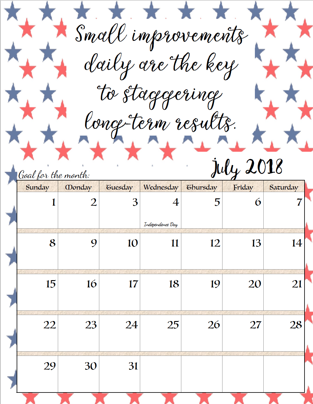 free printable 2018 monthly motivational calendars space for setting goals different motivational quote each