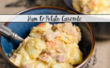 Cheesy Ham and Potato Casserole. This cheesy, hearty casserole with buttery topping is the perfect comfort food. Great way to use up leftover ham.