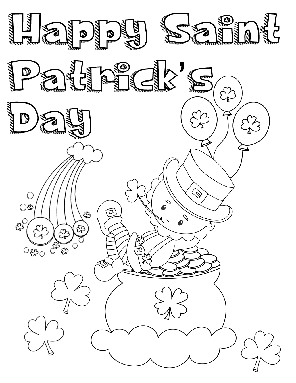 Lively image for printable st patrick day coloring pages