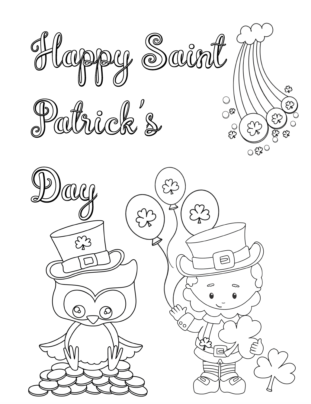 Free Printable St. Patrick's Day Coloring Pages. 4 different designs…fun for the kids. Just download, print, and let the kids start coloring! #stpatrick #stpatricks #stpat #coloring #free #printable #freeprintable