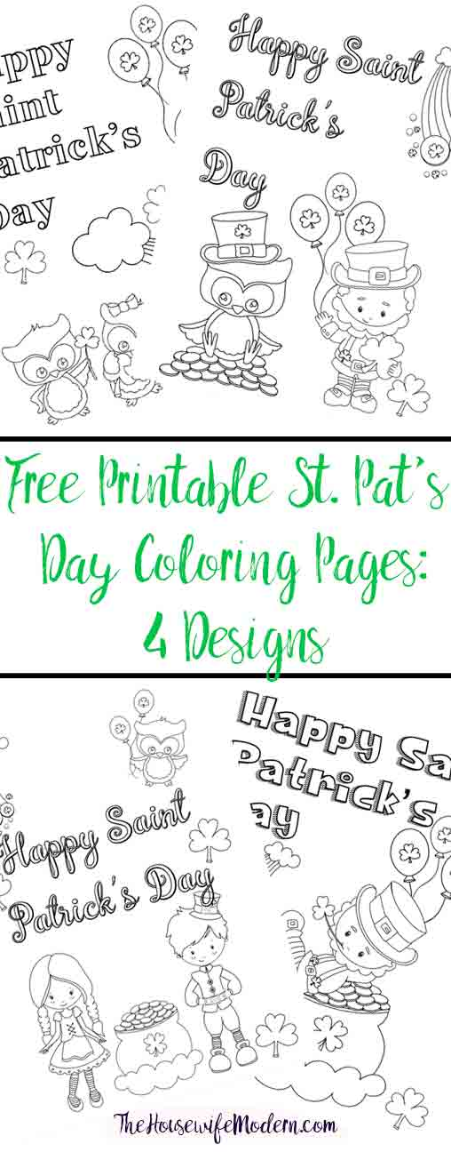 Free Printable St. Patrick\'s Day Coloring Pages: 4 Designs!