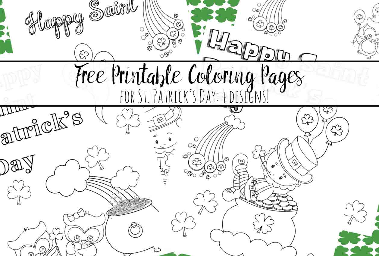 Free Printable St Patricks Day Coloring Pages 4 Designs