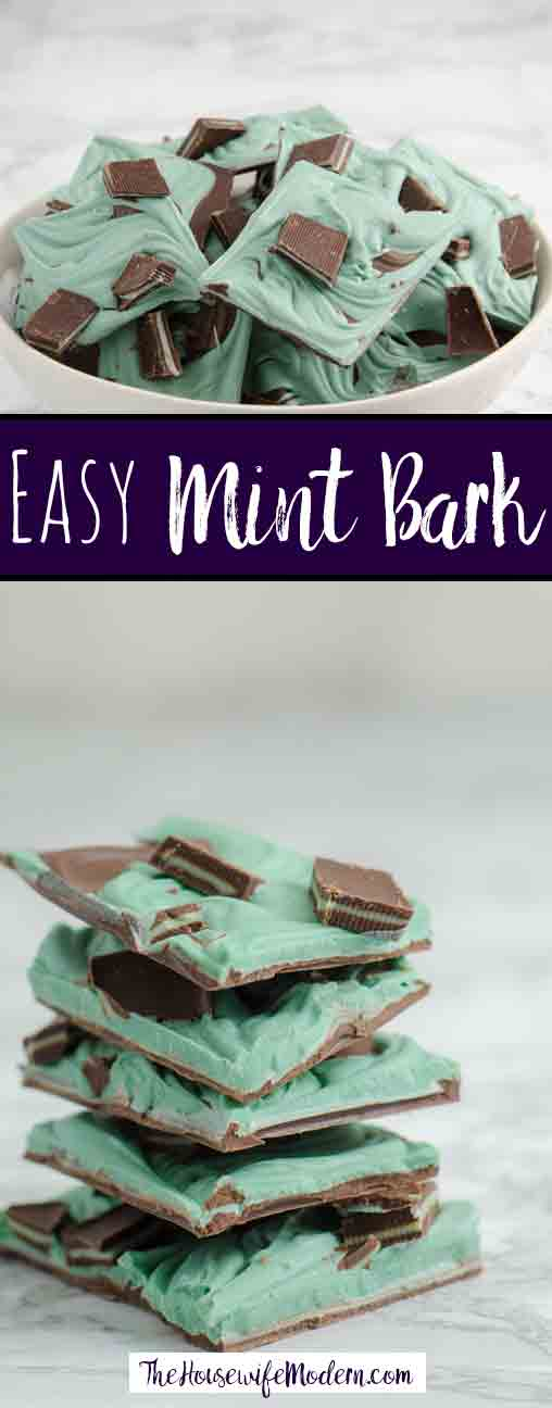 Grasshopper Mint Chocolate Bark: Easy, delicious, and fabulous looking. Chocolate bark swirled with smooth mint bark topped with Andes mints. #candy #grasshopper #mint #chocolate #bark