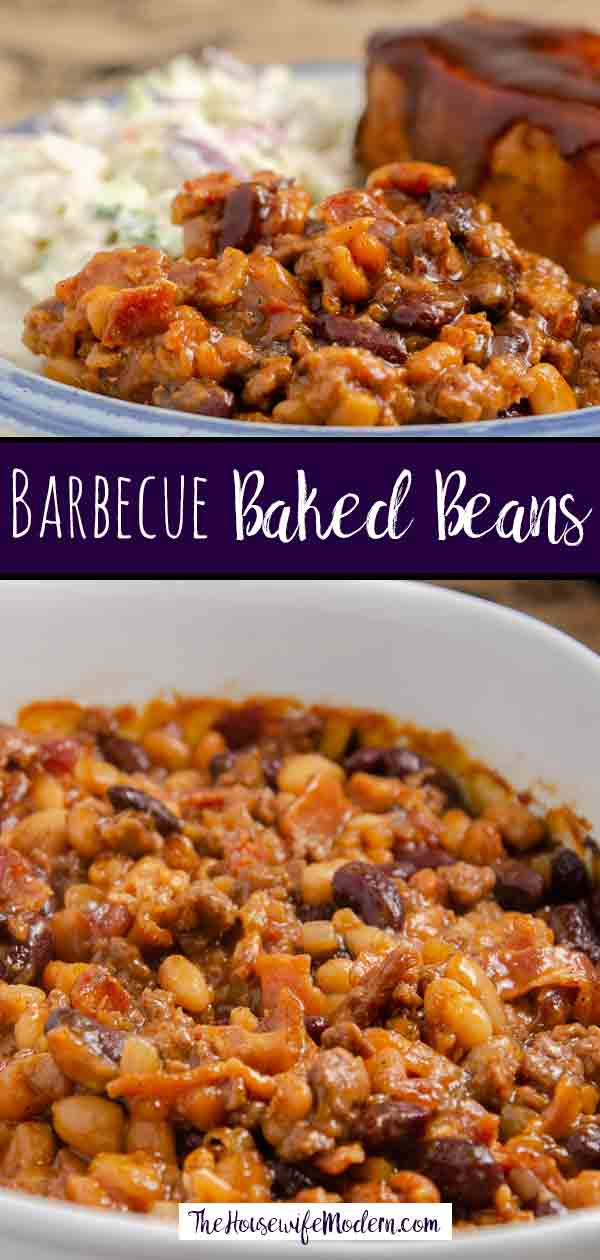 Southern Style Barbecue Baked Beans with Bacon. Delicious beans smothered with brown sugar, molasses, bacon, barbecue, and spices.