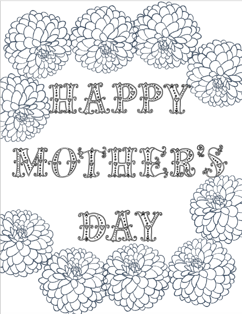 Free Printable Mother's Day Coloring Pages: 4 Designs