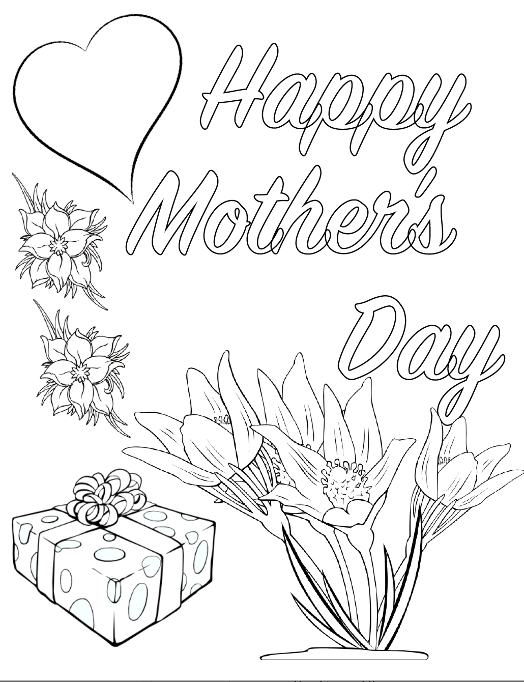 Free Printable Mother's Day Coloring Pages: 4 Designs. The kids will love these cute coloring sheets that they can give Mom for Mother's Day. Just print and color!