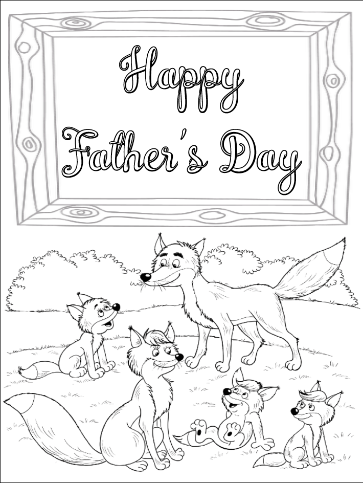 Free printable Father's Day card to color. Foxes at play.