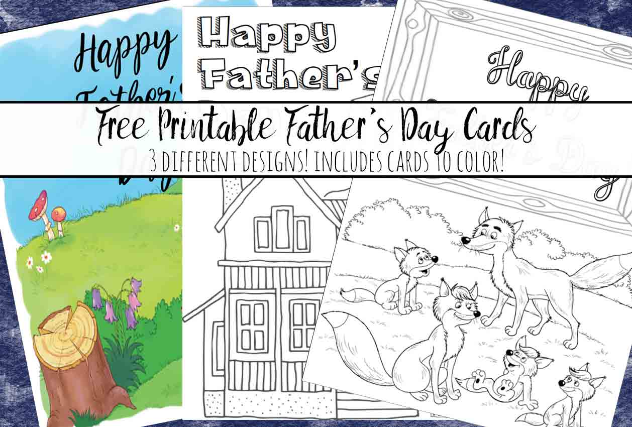 Free Printable Father's Day Cards. 3 different designs…some you can color! Color and give a personalized card he can't get anywhere else.