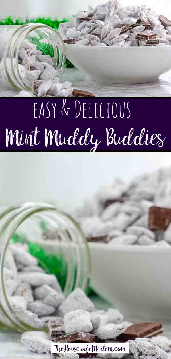 Andes Mint Muddy Buddies, Andes Mint Puppy Chow. Delicious mint chips and chocolate chips combine into puppy chow topped with Andes mints. Mint chocolate muddy buddies...a delicious and easy treat! #mint #muddybuddies #puppychow
