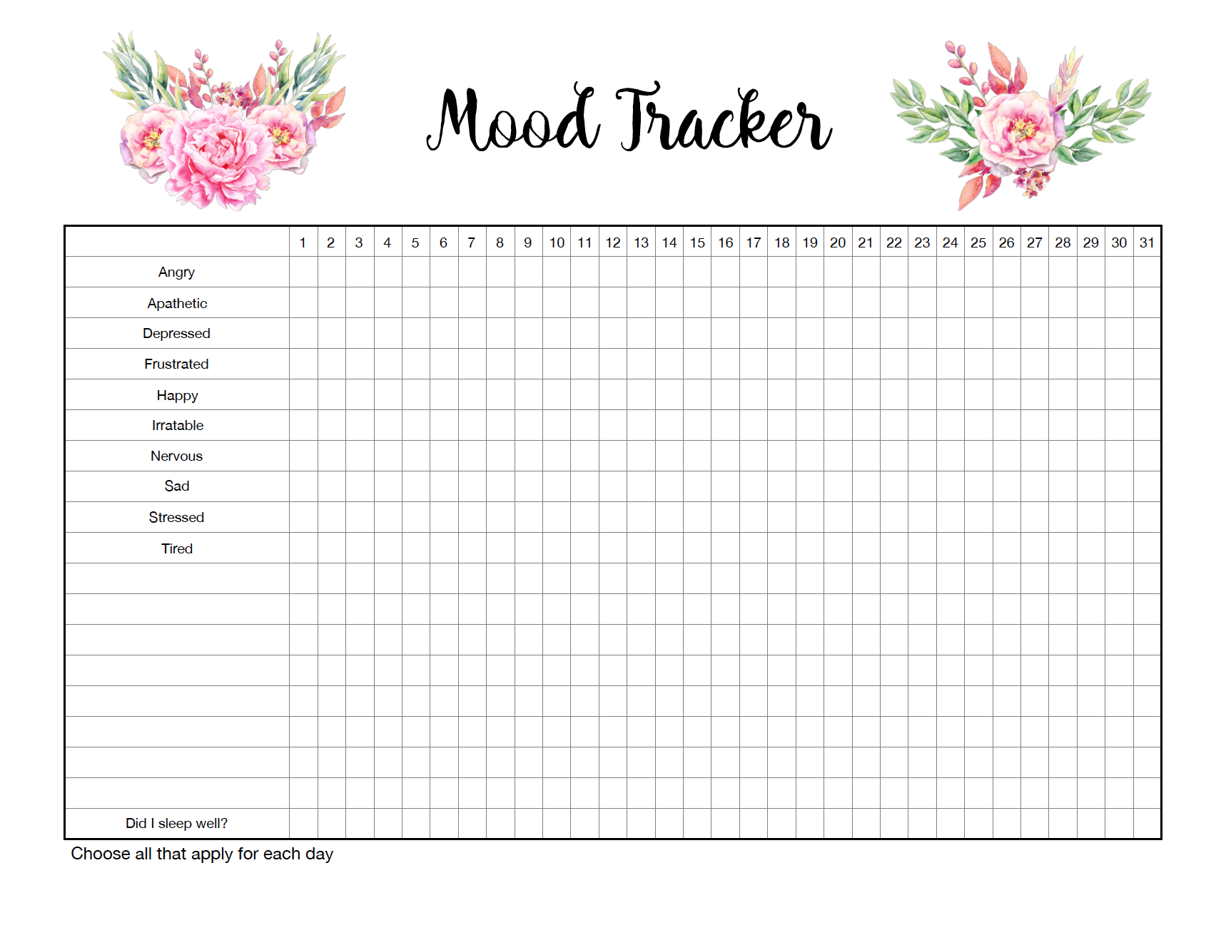 Monthly mood tracker. Track all the emotions you feel during a particular day. Blank spots to add your own.