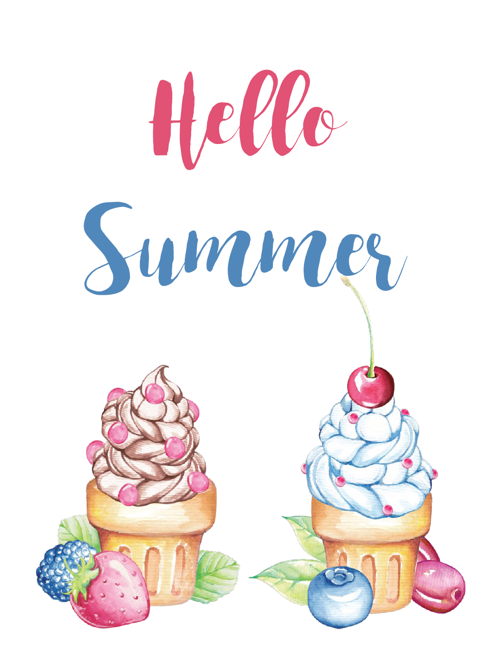 Hello Summer Free Summer Printable. Celebrate summer and brighten up your decor with 4 free summer printables.