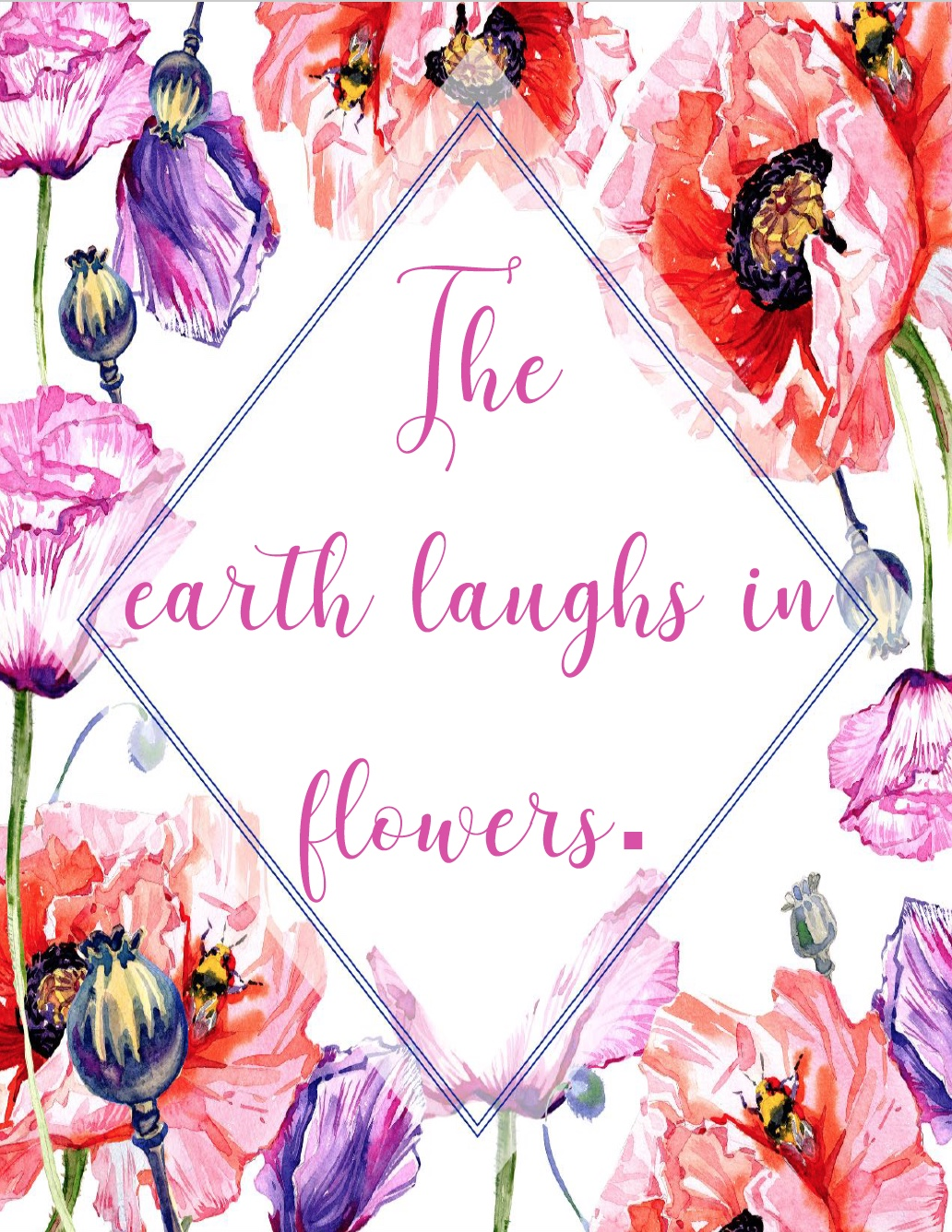 The Earth Laughs in Flowers Free Summer Printable. Celebrate summer and brighten up your decor with 4 free summer printables.
