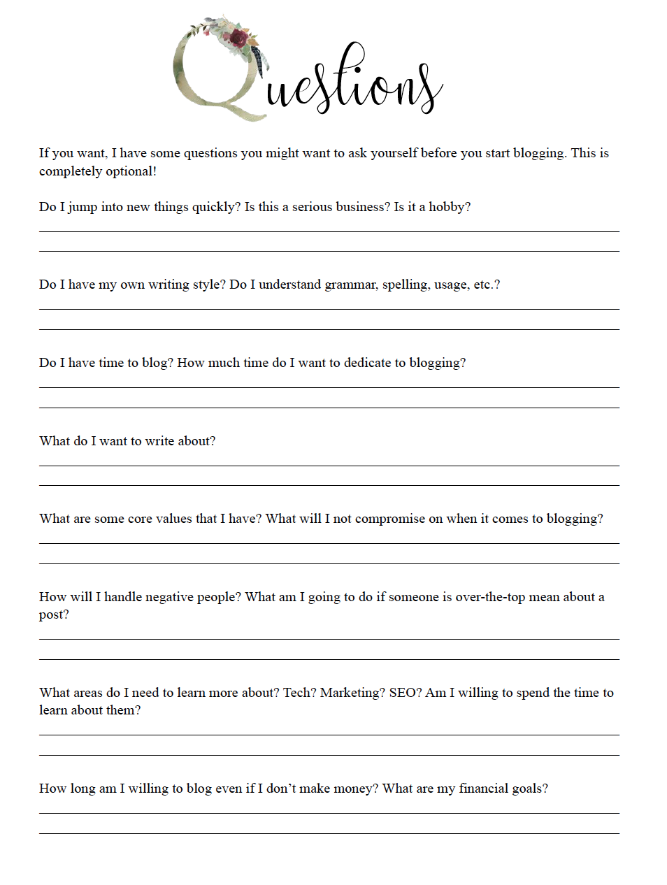 Questions to answer before starting a blog worksheet.