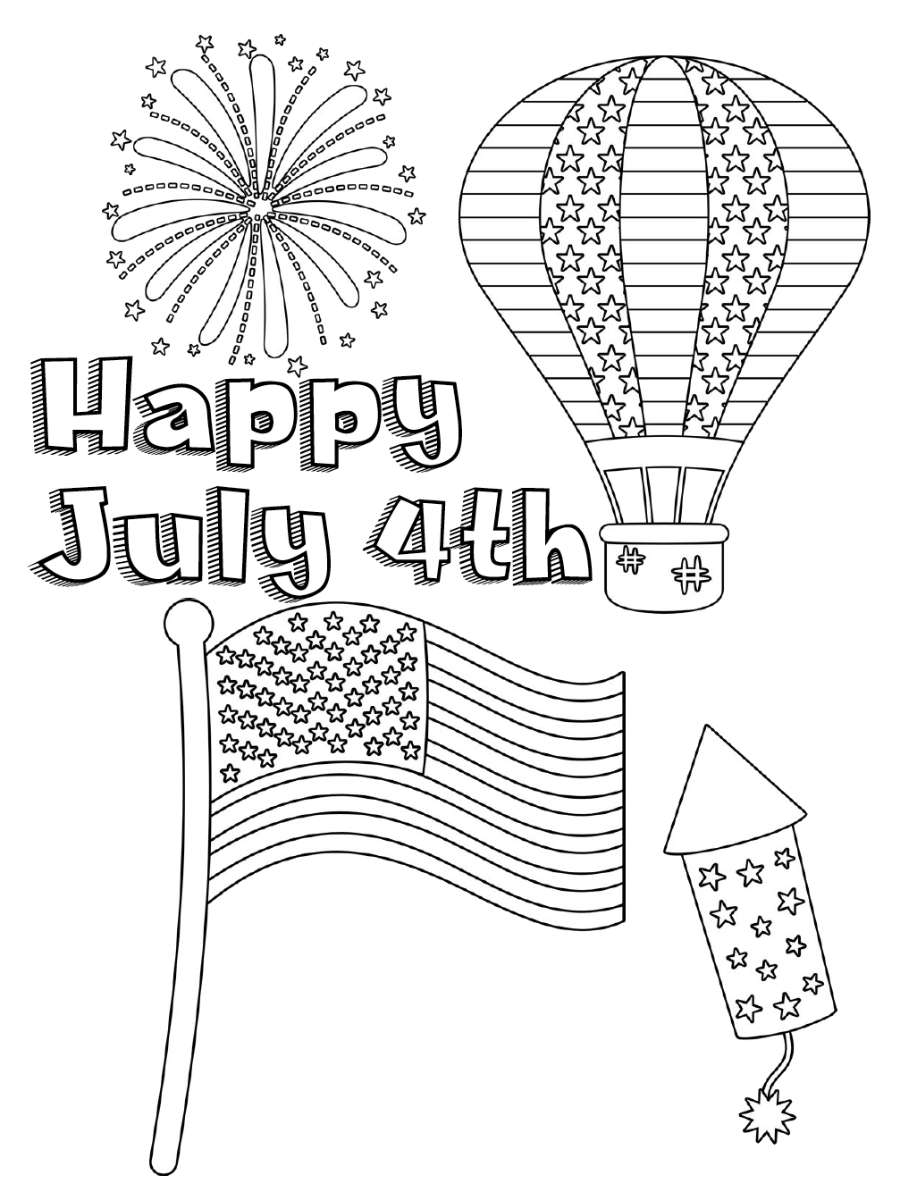 Free Printable Fourth Of July Coloring Pages 4 Different Designs Patriotic 4th