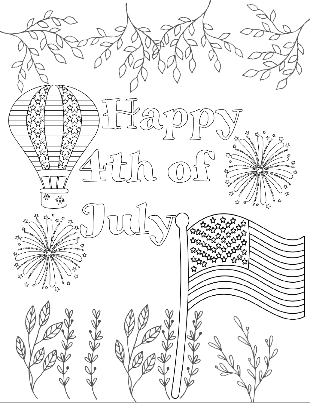 Free Printable Fourth of July Coloring