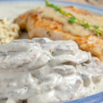 Easy Creamy Mushrooms. Quick and easy mushroom side dish. Versatile- goes great with meat, fish, and more. Make ahead or serve immediately. #mushroom #easyside #sidedish #msuhrooms #creamymushrooms
