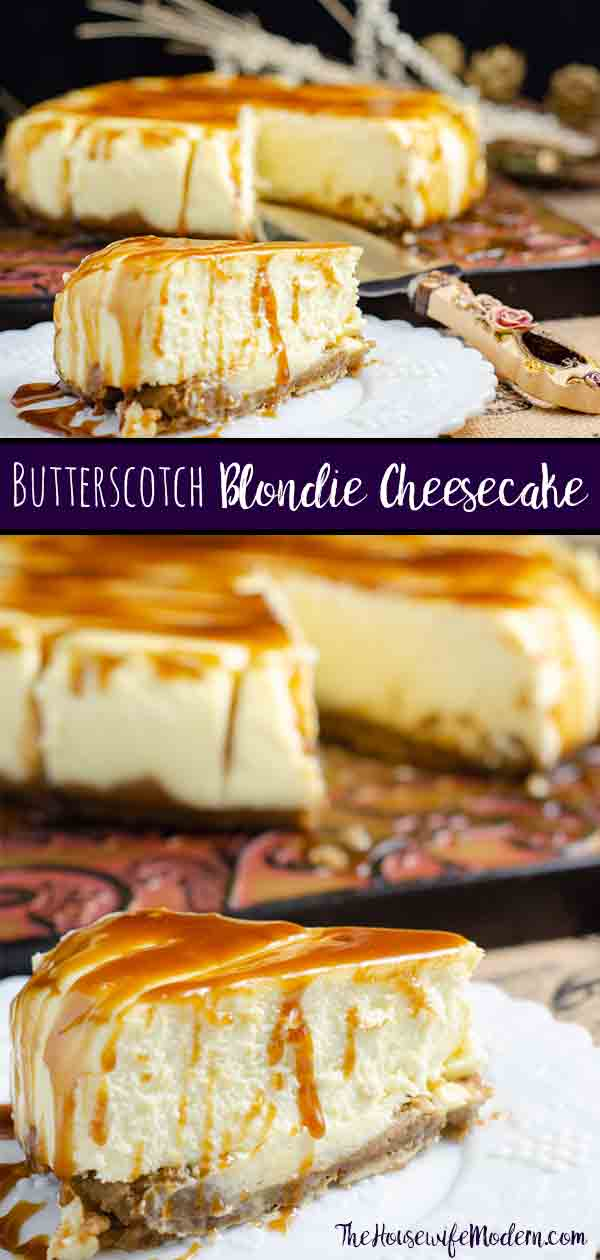 Butterscotch Blondie Cheesecake. Blondie crust, delicious to-die-for cheesecake, salted bourbon butterscotch sauce. This amazing dessert is one-of-a-kind. #cheesecake #blondie #butterscotch #dessert #sweet