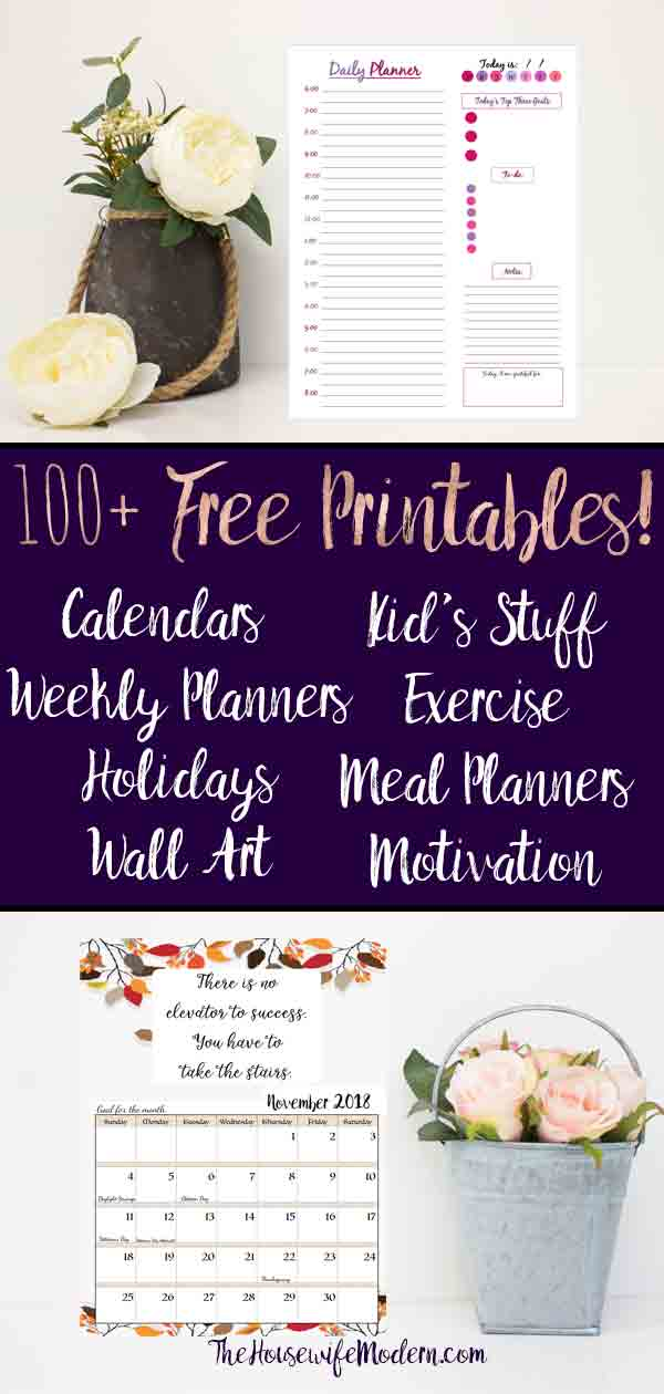 100+ printables for every occasion! Full planner binder, organizing, cleaning, menu/grocery, holidays, food tracker, motivation, & more! #printables #freeprintables #calendars #menu #exercise #foodtracker