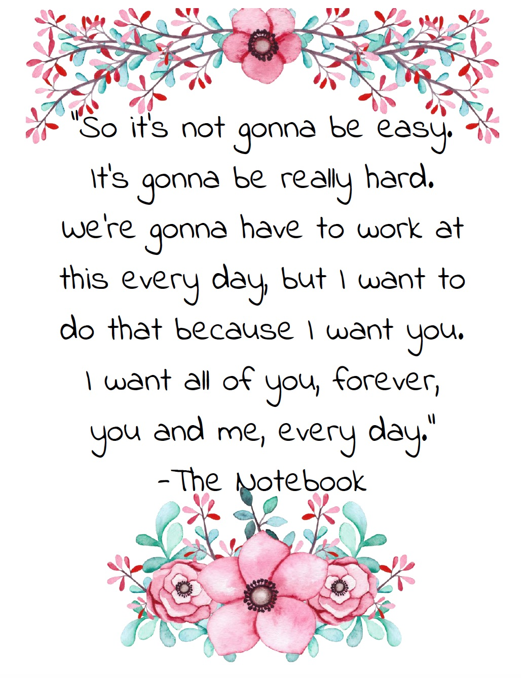"Free Printable Romantic Movie Quotes: 6 Designs. ""So it's not gonna be easy..."" from The Notebook."