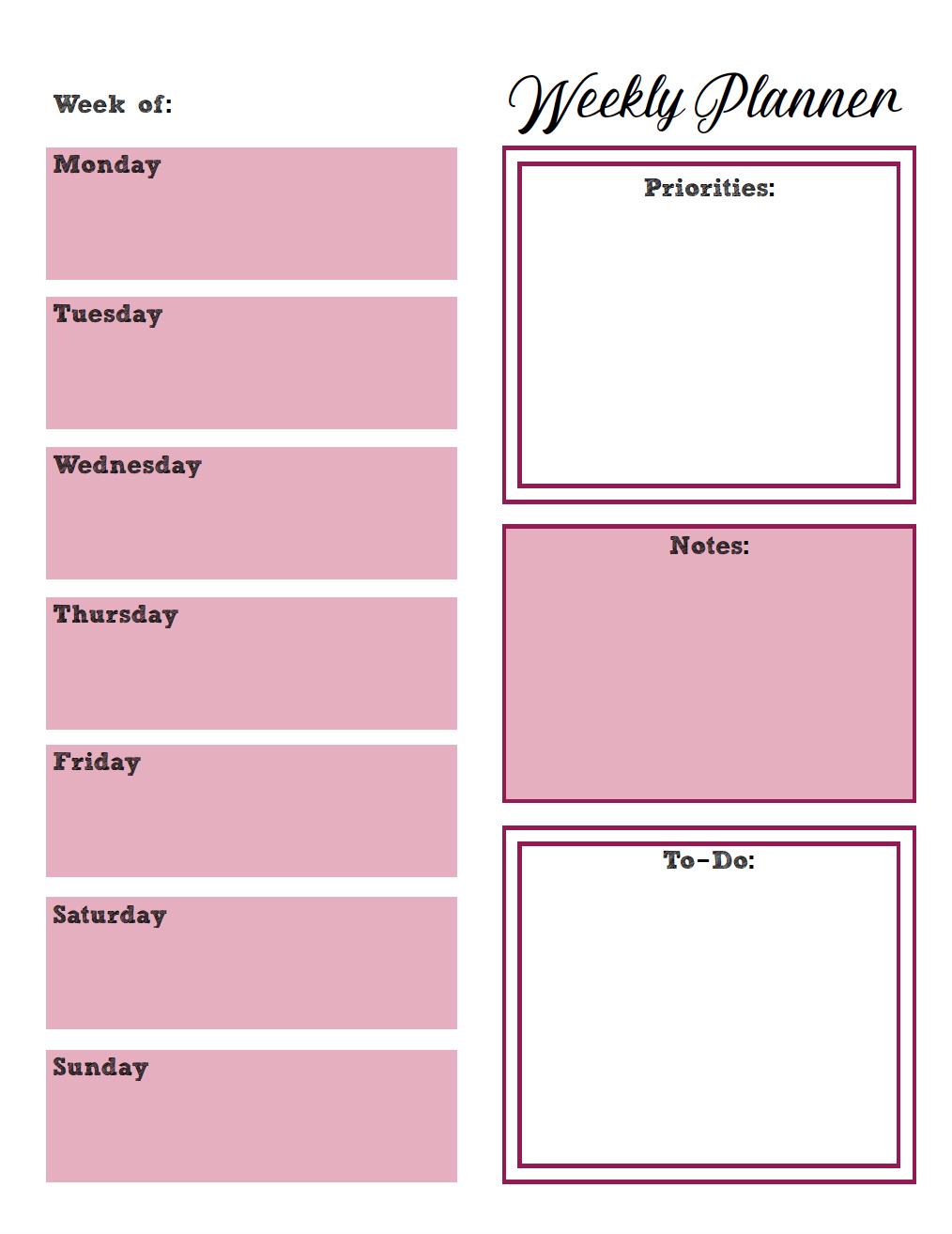 It is an image of Fan Free Weekly Planner Printables