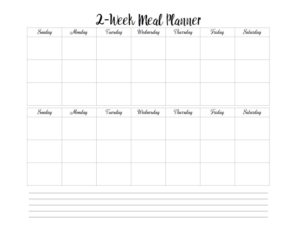 free printable 2 week meal planners 4 designs